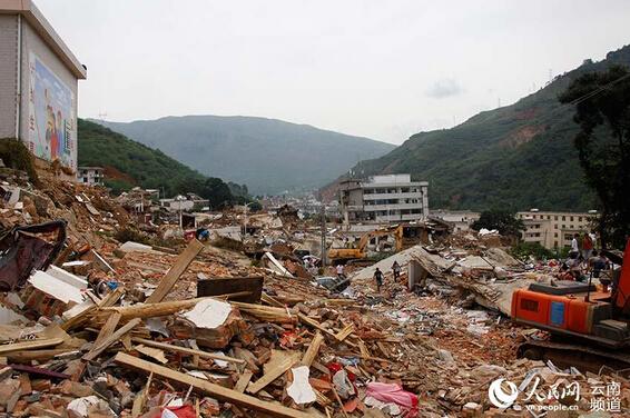 鲁甸地震震后影像 龙头山镇图片